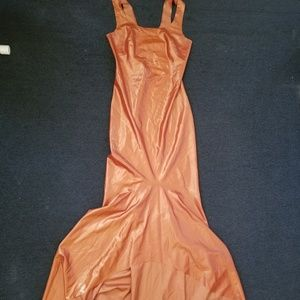 LATEX! Floor length bronze latex dress